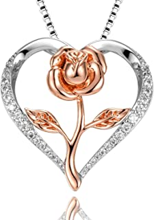 Rose Necklace for Women Rose Gold Flower Silver Heart Pendant with 5A Cubic Zirconia Necklace Gift