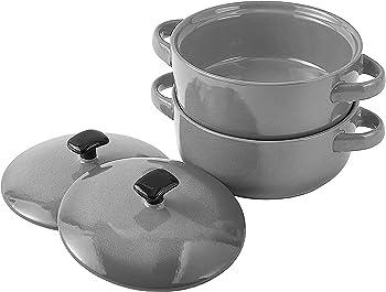 Set of 2 Bruntmor Bake & Serve Ceramic Soup Bowls With Handles & lids