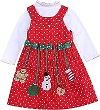 Baby Girls Christmas Dress Long Sleeve Polka Dot Snowman Xmas Party 2pcs Outfits