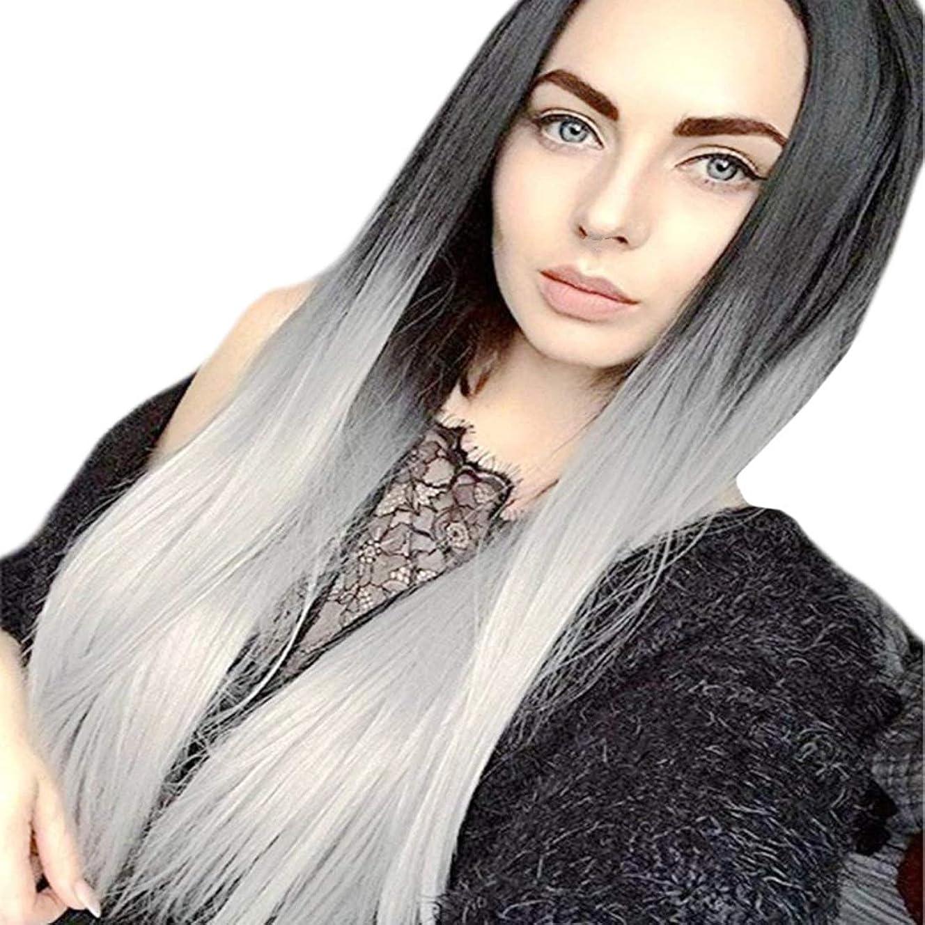 温かいスクリーチ怒るSummerys 女性のためのロングストレート層状耐熱性合成毛髪のかつらセンター別れと人工的な女性のかつら