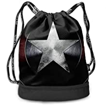 MPJTJGWZ Drawstring Bag Stylish Cool Captain America Lightweight Sackpack Sport Gym Bundle Backpack