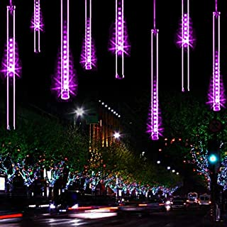 Lwind Meteor Shower Rain Lights,Ultra Bright Romantic Lights for Party, Wedding, Christmas, etc.11.8inch 8 Tubes(Purple)