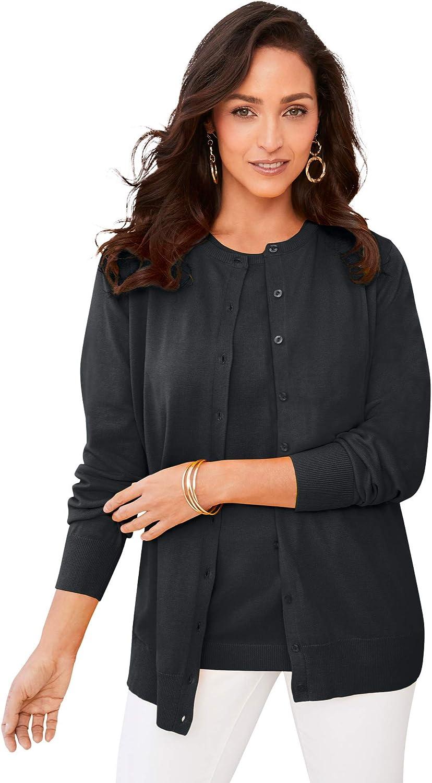 Jessica London Women's Plus Size Fine Gauge Cardigan Sweater