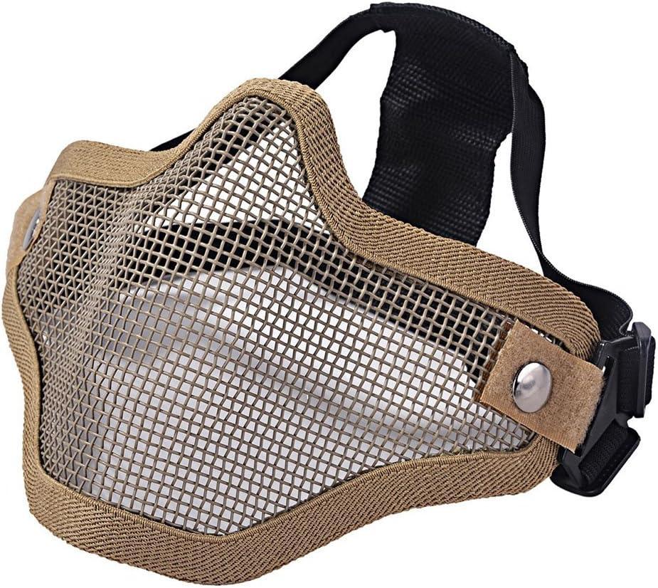 Ecloud Shop® Máscara táctica de Airsoft El Delantero de Acero de Malla metálica Inferior la Media mascarilla