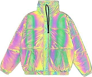 DUTUI Chaqueta de algodón reflectante con superficie brillante para hombre y mujer en invierno, con cuello alto, grueso y ...