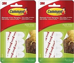 Tiras para pendurar pôster Command com 12 tiras, branco, 17024 – pacote com 2