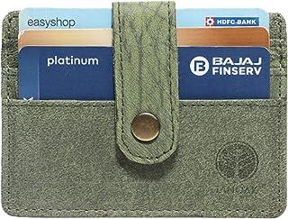 Tanoak Minimalist Card Holder Plus Half Cash Compartment RFID Safe Clutch Button (Green), Designer Purse