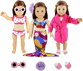 BARWA 3 Sets Summer Clothes Outfits Mermaid Dress and Swimsuits Set Pink Pajamas with Slippers for 18 Inch Dolls Xmas Gift