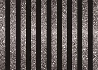 AOFOTO 7x5ft Black Silver Striped Backdrop Vinyl Kids Baby 1st Birthday Decor Adults Father Mother 30th 40th 50th Birthday Party Events Decoration Background for Photography No Sleeve Photo Booth Prop