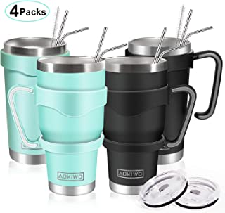 20oz and 30oz Tumbler, AOKIWO [4 Packs] Stainless Steel Insulated Tumblers Double Wall Vacuum Tumbler Travel Mug with 4 Lids, 8 Straws, 2 Brush and 4 Handles