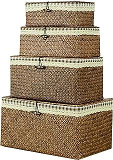 Ensemble de 4 pièces d'algues naturelles Boîte rangement tissé à la main, coton et drapage en drapage dames damier Boîte r...