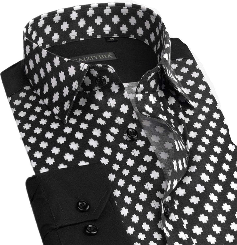 JXG Men Long Sleeve Fashion Club Floral Print Button Down Dress Shirts