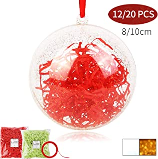 Shinyee Clear Fillable Ornaments Ball DIY Christmas Ornaments Xmas Clear Sphere Plastic Empty Round Ornaments Set,Christmas Tree Balls Ornaments Fill Big Orb Craft Champagne Gold(Golden-80mm-12 Balls)