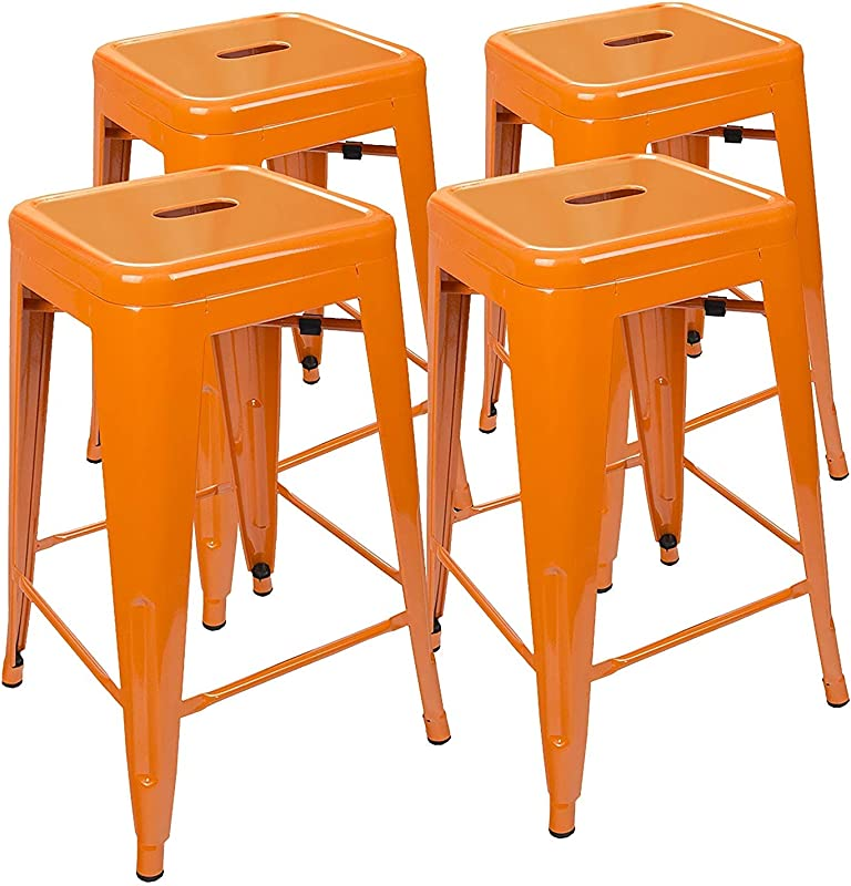 UrbanMod 24 Inch Bar Stools For Kitchen Counter Height Indoor Outdoor Metal Set Of 4 Orange