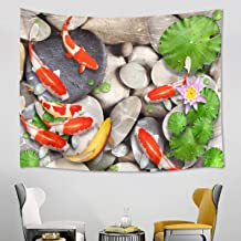 LB Koi Fish Lotus Flower Stone Zen Meditation Wall Tapestry, Oriental Asian Themed Wall Hanging Poster Art Home Decor for Living Room Bedroom College Dorm, 78 x 60 Inches