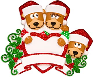 Personalized Brown Bear Family of 3 Christmas Tree Ornament 2019 - Hug Parent Kid Friend Hold Glitter Heart Santa Hat Holiday Fun Tradition Grand-Children Gift Year - Free Customization (Three)