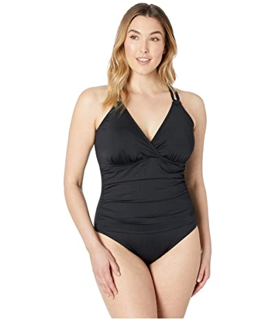 La Blanca Plus Size Surplice Underwire One-Piece (Black) Women