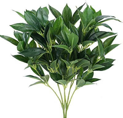 """AILANDA Artificial Eucalyptus Leaves 2PCS 18.5"""" Long Silk Greenery Stems Floral Arrangement Artificial Olive Branches for Home Office Wedding Wedding Table Centerpieces"""