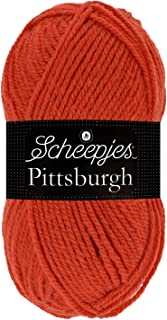 Scheepjes Pittsburgh Fil à Tricoter 60 % Polyacrylique 40 % Laine, Rouge Corail, Taille unique