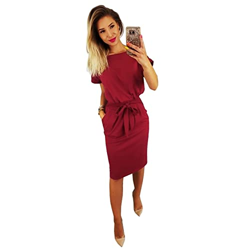 Longwu Women s Elegant Lantern Sleeve Short Sleeve Wear to Work Casual  Pencil Dress with Belt 7a8d8c466fe3