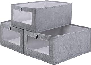 RNORRI 収納ボックス 収納ケース 3個セット 衣類収納ボックス クローゼット 棚上収納ボックス キューブケース どこでも収納 可視化窓口 折りたたみ 布製 衣類 おもちゃ 本 CD 収納用品