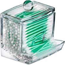 Qtip Cotton Swab Dispenser Holder - Acrylic Apothecary Vanity countertop Organizer Box Jars for qtips Bobby pins toothpick...
