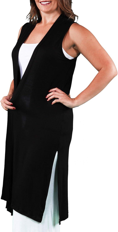 24seven Comfort Apparel Womens Plus Size Lightweight Sleeveless Long Knee Length Cardigan Shrug Vest Made in USA -1X-3X