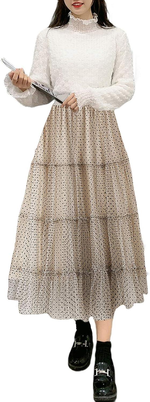 lookwoild Women Casual Midi Skirt High Waist Layered Polka Dot Mesh Skirt Pleated A-Line Swing Skirt Y2K Clubwear (Apricot, One Size)