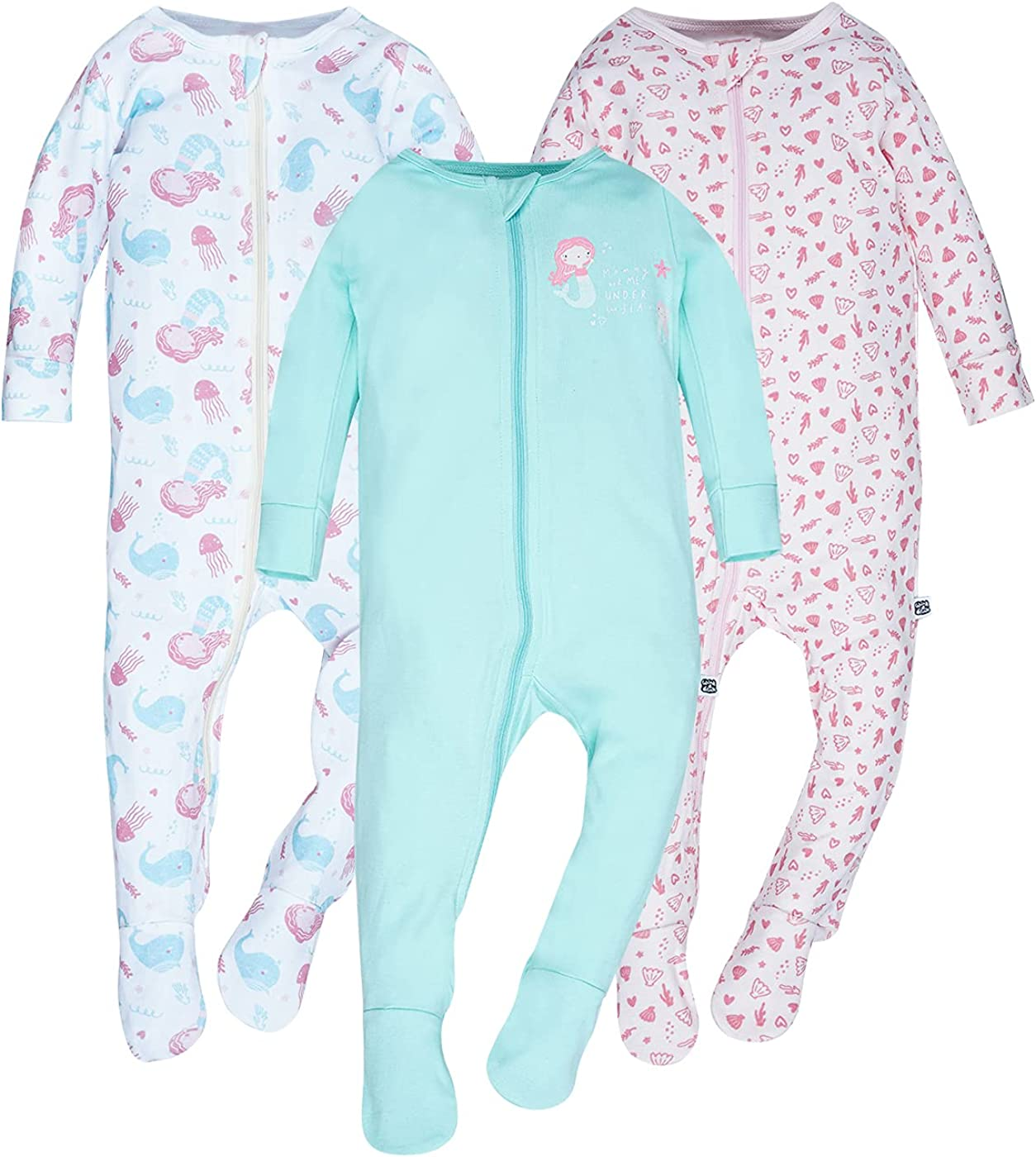 WINK & BLINk Under The Sea Organic Baby Sleep N' Play, 3-Pack Jumpsuit, 100% Organic One-Piece Cotton Fotted Pajamas
