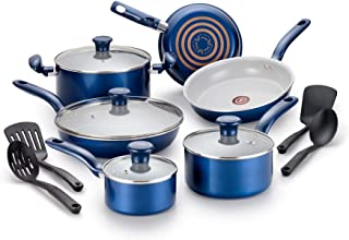 T-fal Inititives Initiatives Ceramic Thermo-Spot Heat Indicator Dishwasher Oven Safe Toxic Free Cookware Set, 14-Piece, Blue