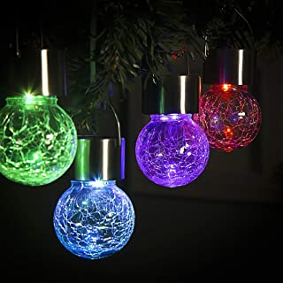 GIGALUMI 8 Pack Hanging Solar Lights Multi-Color Changing Cracked Glass Hanging Ball Lights Waterproof Outdoor Solar Lante...