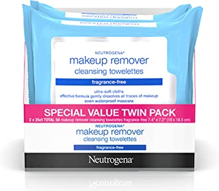 Neutrogena Cleansing Fragrance Free Makeup Remover Facial Wipes, Daily Cleansing Facial..