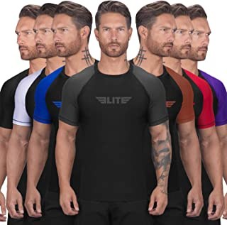 Elite Sports BJJ Jiu Jitsu Rash Guards, Men's BJJ, No GI, MMA Ranked Short Sleeve Compression Base Layer Rash Guard