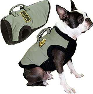 Gooby - Military Vest, Small Dog Jacket Coat Vest with Lift Handle, Green, X-Large
