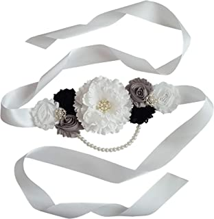 Mom To Be Sash with Shabby Flowers and Ivory Pearl String for Baby Girl or Boy Shower
