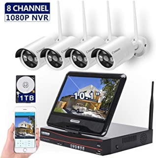 [8CH, Expandable] All in one with 10.1 inches Monitor Wireless Security Camera System, Home Business CCTV Surveillance 1080P NVR Kit, 4pcs 960P Indoor Outdoor Night Vision IP Camera, 1TB Hard Drive