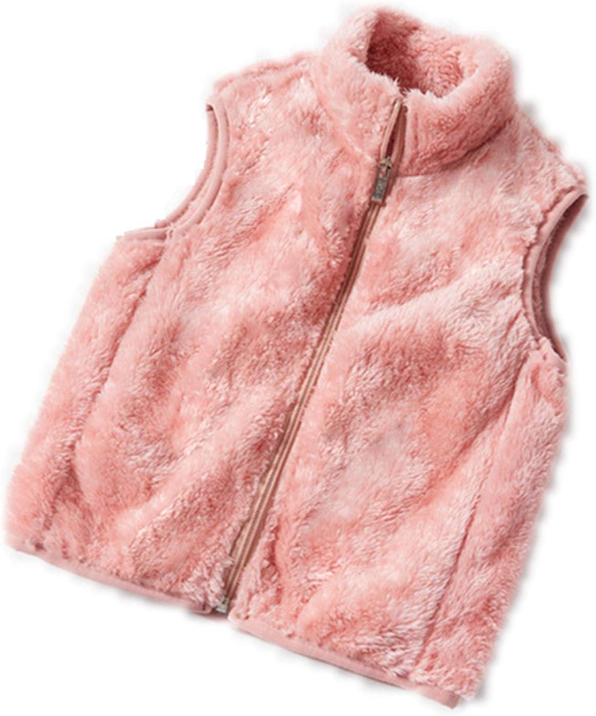 DUTUI Children's Autumn and Winter Girl Vests, Girls Plus Fleece Warm Fleece Vest Jacket, Children's Solid Color Casual Cardigan Vest,Pink,3XL