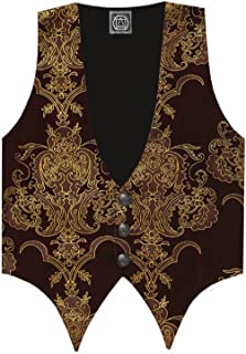 Victorian Vagabond Steampunk Gothic Patterened Velvet Men's Vest Burgundy Gold
