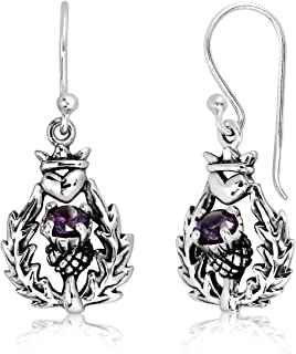 WithLoveSilver 925 Sterling Silver Classic Scottish Thistle Simulated Cubic Zirconia Heart Dangle Earrings