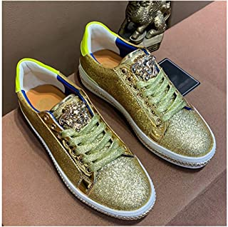 Fashion Trendy Sequins Printing Men's Casual Board Shoes Breathable Casual Shoes Wear-Resistant Non-Slip Low Top Shoes Lace Up Breathable Best Selling Travel Men's Shoes Lightweight,Gold,43EU