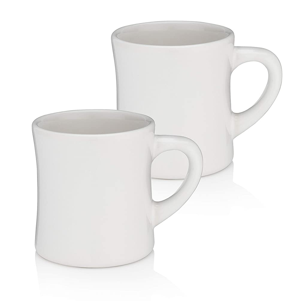 MADE IN AMERICA - Pacific Home Retro Diner Coffee Mugs - Set of 2 - White