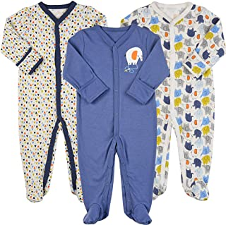 Exemaba Baby Boys Footie Pajamas with Mittens - Cotton Infant Footed Sleeper Pjs Infant Sleep and Play Onesies Overall