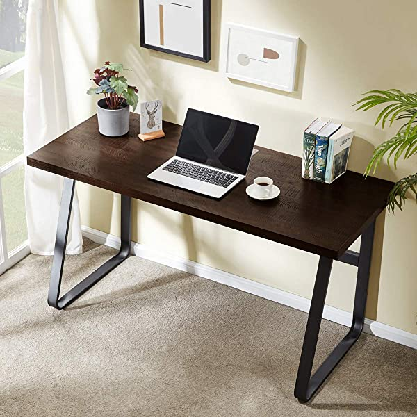 DYH Vintage Computer Desk Wood And Metal Writing Desk PC Laptop Home Office Study Table Espresso 55 Inch
