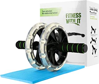 WeyTy AB Roller Wheel (Dia.20cm) Exercise and Fitness Gym Roller W/Thick Knee Pad for Core Training and Abdominal Workout