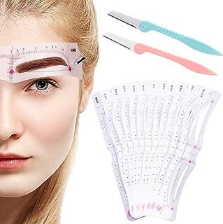 Eyebrow Stencil, 12 Pcs Microblading Kit Supplies Reusable Eyebrow Stamp, Washable Eyebrow Mold Unique Style Eyebrow Grooming Makeup DIY Tools with 2 Eyebrow Razors