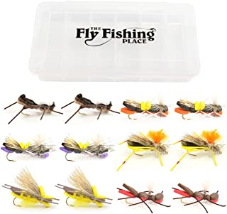 The Fly Fishing Place Chernobyl Ant and Foam Hopper Fly Fishing Flies Assortment - 12 Flies - 2 Each of 6 Trout Bass Flies with Fly Box