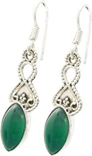 Shardajewels 925 Sterling Silver Handmade Earring SJE-194 Green Onyx Dangle Earring for Girls & Women
