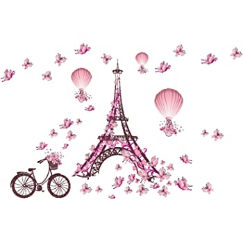 Decor MI Romance Eiffel Tower Paris Tower Butterfly Balloon Wall Decal Stickers Waterproof Removable Background Wall Art Wallpaper Decorations 39x26 inches