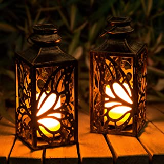 2 بسته فانوس خورشیدی در فضای باز ، چراغ های خورشیدی LED OxyLED ، فانوس های آویز خورشیدی پروانه ای دارای دسته ضد آب ، چراغ های مأموریت شمع بدون شعله ور برای مسیر حیاط حیاط پاسیو