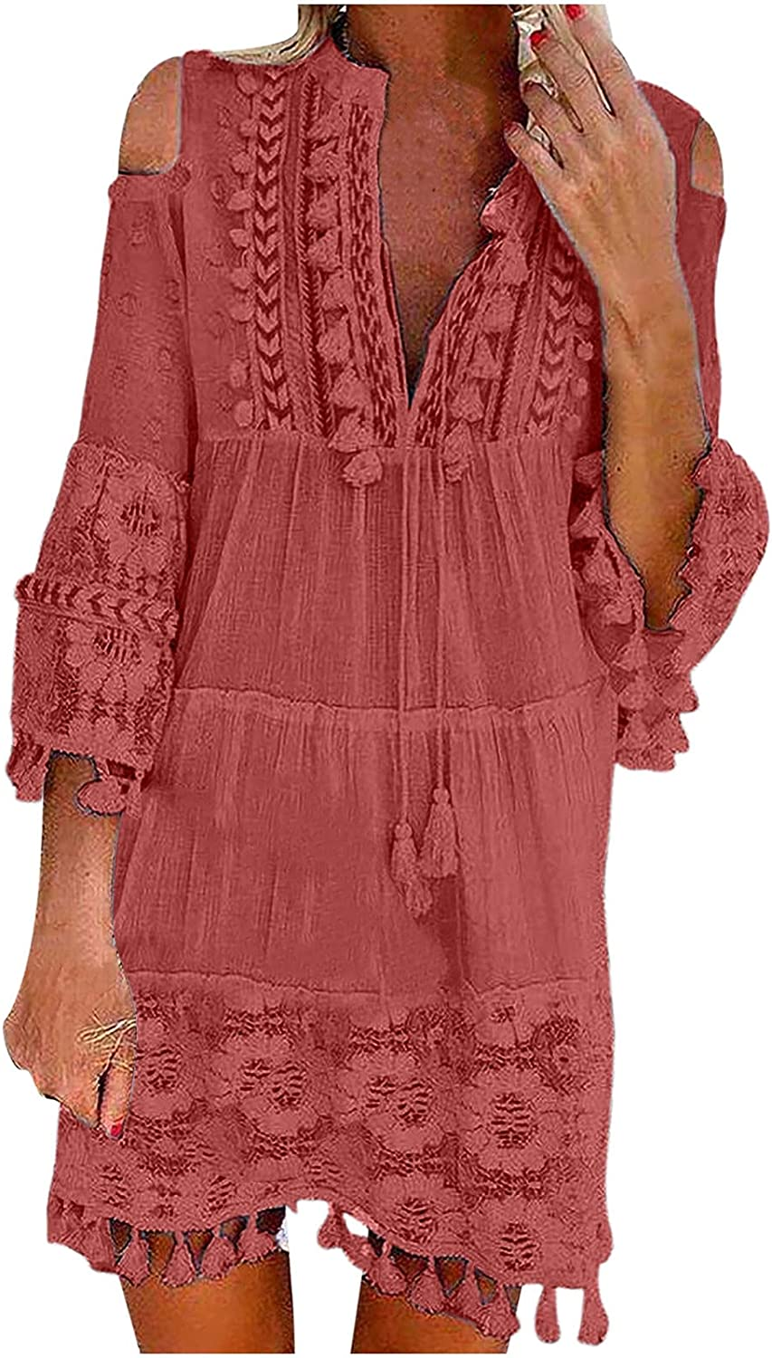 RKSTN Womens Dresses Lace Embroidery Patchword Dress Loose Casua
